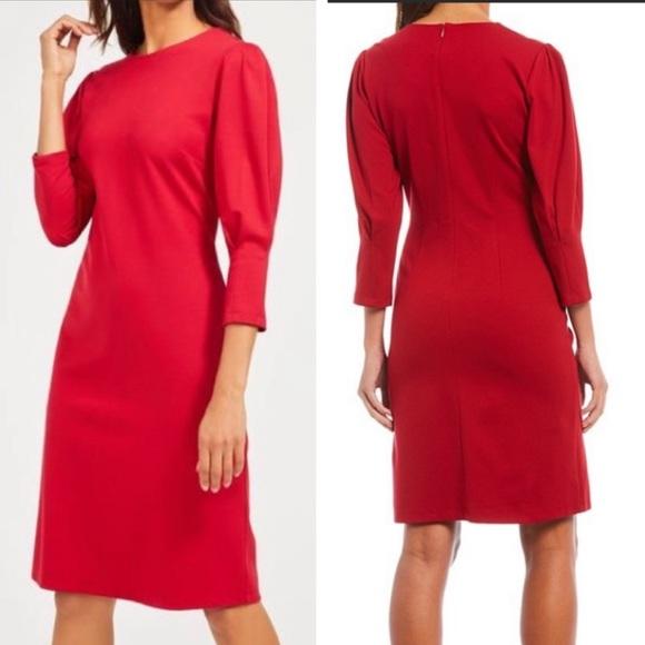 J. MCLAUGHLIN Red Ezra Pleated Puff Sleeve Dress